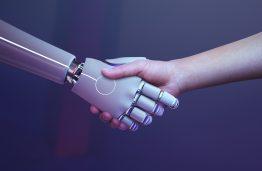 Robot handshake human background, futuristic digital age